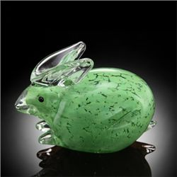 Hand Crafted Green Art Glass Bunny