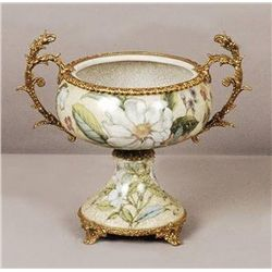 ORIENTAL PORCELAIN BOWL W/ BRASS ACCENTS