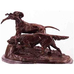"""Setter & Pointer"" Bronze Sculpture - Masson"