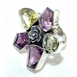 Silver and Amethyst & Lemon Quartz Ring