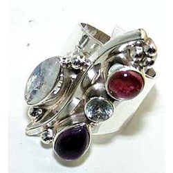 Silver and Rainbow Moonstone & Mixed Stones Ring