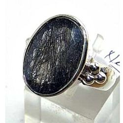 Silver and Black Rutilated Quartz Ring