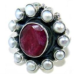 Silver and Ruby & Pearl Ring