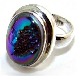 Silver and Coated Drusy Ring