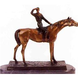 """Jockey"" Bronze Sculpture - Moigniez"