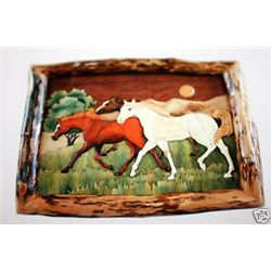 """The Running Horses"" - Framed Hand Carved Wall Hanging"