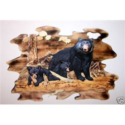 """Mother Bear And Cubs""  Hand Carved Wall Hanging"