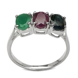2.85 Carat Genuine Multistone .925 Sterling Silver Ring