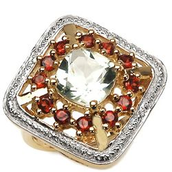 4.58 Carat Genuine Green Amethyst & Garnet 14K Yellow Gold Plating .925 Sterling Silver Ring