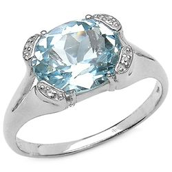 5.29 Carat Genuine Blue & White Topaz .925 Sterling Silver Ring