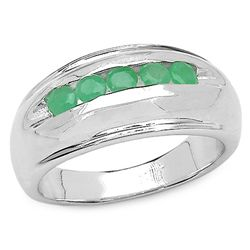 0.45 Carat Genuine Emerald .925 Sterling Silver Ring