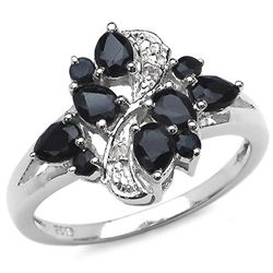 1.20 Carat Genuine Sapphire & White Topaz .925 Sterling Silver Ring