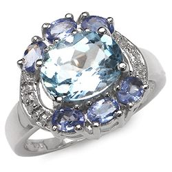 4.00 Carat Genuine Blue Topaz & Tanzanite .925 Sterling Silver Ring