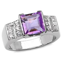 2.50 Carat Genuine Amethyst & White Topaz .925 Sterling Silver Ring