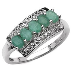 0.90 Carat Genuine Emerald & White Diamond .925 Sterling Silver Ring