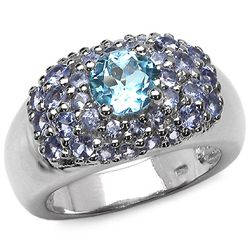 1.20 Carat Genuine Blue Topaz & Tanzanite .925 Sterling Silver Ring
