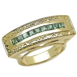 1.08 Carat Genuine Green Sapphire 18K Yellow Gold Plating .925 Sterling Silver Ring