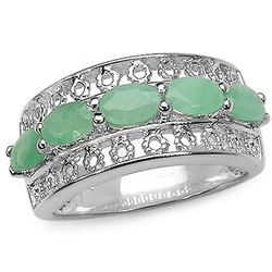 1.10 Carat Genuine Emerald .925 Sterling Silver Ring