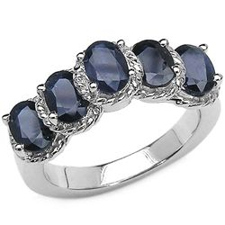 3.25 Carat Genuine Blue Sapphire .925 Sterling Silver Rings