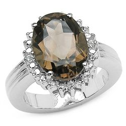 4.10 Carat Genuine Smoky & White Topaz .925 Sterling Silver Ring