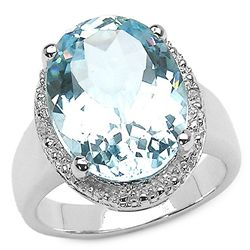12.02 Carat Genuine Blue & White Topaz .925 Sterling Silver Ring