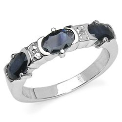 1.95 Carat Blue Sapphire .925 Sterling Silver Ring