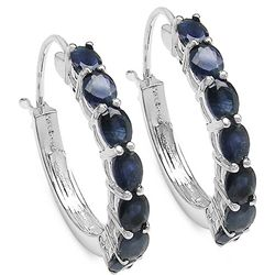 3.50 Carat Blue Sapphire .925 Sterling Silver Earrings