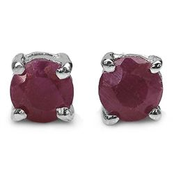1.20 Carat Genuine Ruby .925 Sterling Silver Earrings
