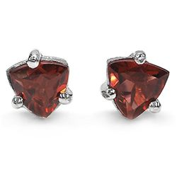 1.00 Carat Genuine Garnet .925 Sterling Silver Earrings