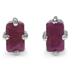 0.80 Carat Genuine Ruby .925 Sterling Silver Earrings