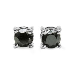 0.41 Carat Genuine Black Diamond .925 Sterling Silver Earrings