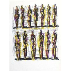 "Moore Original Lithograph ""Thirteen Standing Figures"""