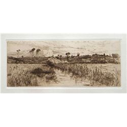 "Mary Nimmo Moran Original Etching ""The Haunt Of The Muskrat"""