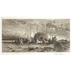 "Peter Moran Signed Original Etching ""Harvest In San Juan, New Mexico"""