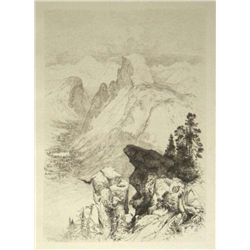 "Moran Original Etching ""The Half Dome - View From Moran Point"""
