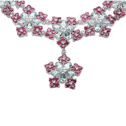 27.90 Carat Genuine Blue Topaz & Ruby .925 Sterling Silver Necklace