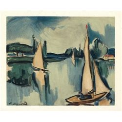 "Vlaminck Original Lithograph ""Sailing Boats On The Seine"""