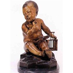 """Divine Boy With Bird"" Bronze Sculpture - Pigah"