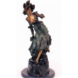 """Woman With Binoculars"" Bronze Sculpture - Holla"