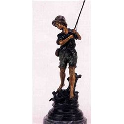 """Boy With Fishing Pole"" Bronze Sculpture - A.  Moreau"