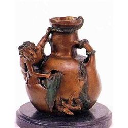 """Nude Boy On Vase"" Bronze Sculpture - A. Moreau"