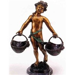 """Heavy Basket"" Bronze Sculpture - A.  Moreau"