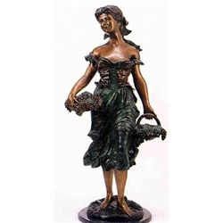 """Grape Girl"" Bronze Sculpture - A. Moreau"