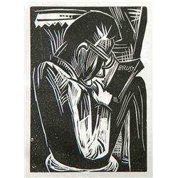 "Karl Schmidt-Rottluff Original Woodcut ""Lesender Mann"""