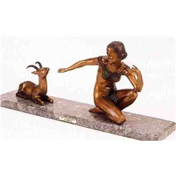 """Deco With Fawn"" Bronze Sculpture - Chiparus"