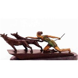 """Kneeling Diane With Wolves"" Bronze Sculpture - Chiparus"