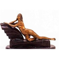"""Reclining Nude Girl"" Bronze Sculpture - Chiparus"