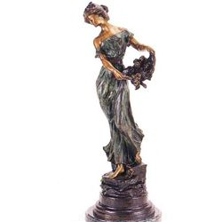"""Girl With Basket Of Flowers"" Bronze Sculpture - Flora"