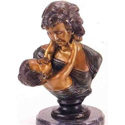 """Mother &  Son"" Bronze Sculpture - Houdon"