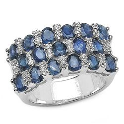 4.08 Carat Blue Sapphire & White Topaz .925 Sterling Silver Ring